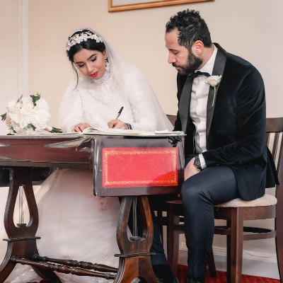 Mariam and Ahmed had an intimate ceremony at Weybridge Register Office