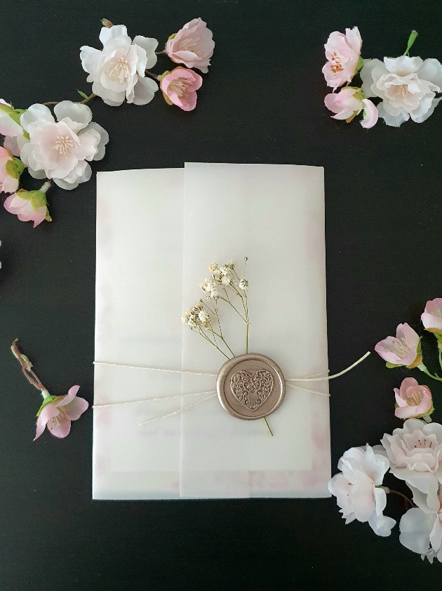 Cherished Cards have introduced dried flowers into their handmade wedding stationery